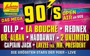 """ANTENNE VORARLBERG präsentiert das """"Mega 90er Open-Air"""" am Freitag, 30. August 2019 auf der Seebühne in Bregenz!"""
