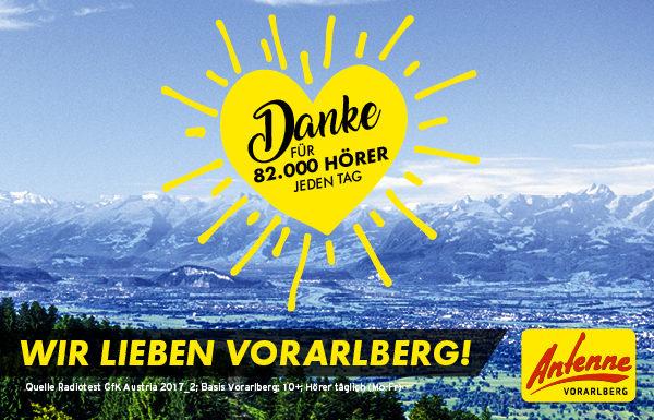 ANTENNE VORARLBERG: Die regionale Nummer 1 mit täglich über 82.000 Hörern im Ländle!